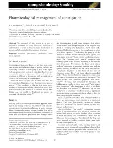 Pharmacological management of constipation