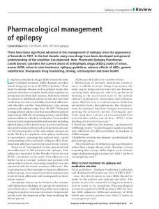Pharmacological management of epilepsy