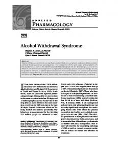 Pharmacology. Alcohol Withdrawal Syndrome