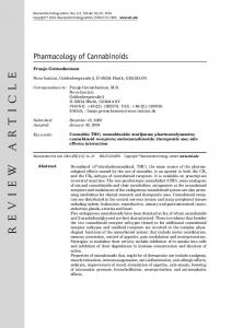 Pharmacology of Cannabinoids