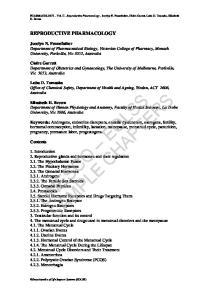 PHARMACOLOGY Vol. II - Reproductive Pharmacology - Jocelyn N. Pennefather, Claire Garrett, Luba D. Tomaska, Elizabeth H. Brown