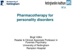Pharmacotherapy for personality disorders