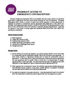 PHARMACY ACCESS TO EMERGENCY CONTRACEPTION