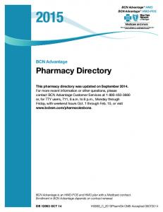 Pharmacy Directory. BCN Advantage
