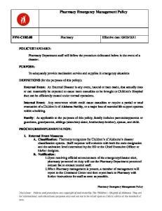 Pharmacy Emergency Management Policy