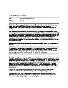 Pharmacy Policy Bulletin