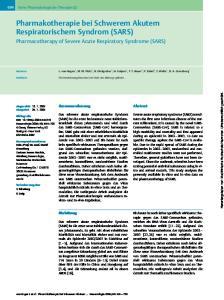 Pharmakotherapie bei Schwerem Akutem Respiratorischem Syndrom (SARS)