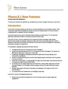 Pharos 8.1 New Features