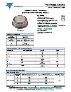 Phase Control Thyristors (Hockey PUK Version), 1650 A
