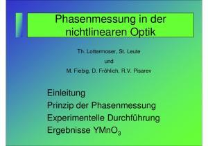 Phasenmessung in der nichtlinearen Optik