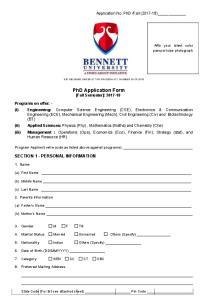 PhD Application Form [Fall Semester]:
