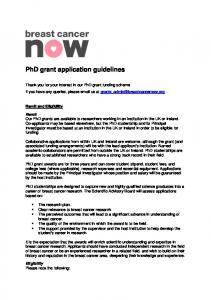 PhD grant application guidelines