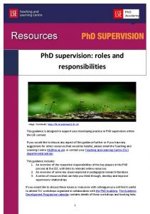 PhD supervision: roles and responsibilities