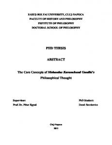 PHD THESIS ABSTRACT. The Core Concepts of Mohandas Karamchand Gandhi s Philosophical Thought