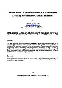 Phenomenal Consciousness: An Alternative Healing Method for Mental Illnesses