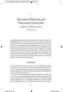 Phenomenal Objectivity and Phenomenal Intentionality