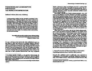 PHENOMENOLOGY AS DESCRIPTIVE PSYCHOLOGY: THE MUNICH INTERPRETATION