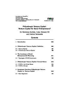 Philanthropic Venture Capital: Venture Capital for Social Entrepreneurs? Contents