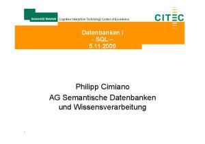 Philipp Cimiano AG Semantische Datenbanken und Wissensverarbeitung