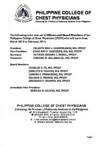 PHILIPPINE COLLEGE OF CHEST PHYSICIANS