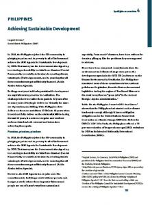 PHILIPPINES. Achieving Sustainable Development. Promises, promises, promises