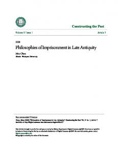 Philosophies of Imprisonment in Late Antiquity