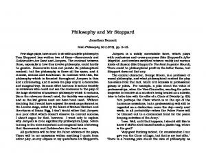 Philosophy and Mr Stoppard