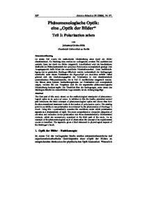 Phänomenologische Optik: eine Optik der Bilder