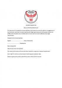 PHOENIX FEDERATION EQUAL OPPORTUNITIES POLICY