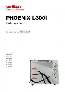 PHOENIX L300i. Leak detector. Operating Manual 10218_002_A4. Part numbers V V V V V V V01