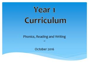 Phonics, Reading and Writing ~ October 2016
