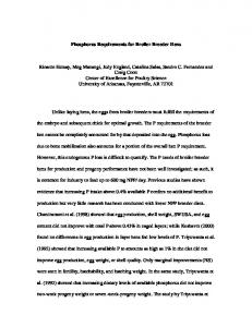 Phosphorus Requirements for Broiler Breeder Hens