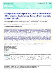 Phosphorylated a-synuclein in skin nerve fibres differentiates Parkinson s disease from multiple system atrophy