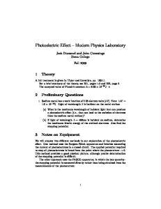 Photoelectric Effect Modern Physics Laboratory