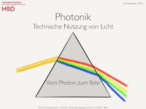 Photonik Technische Nutzung von Licht