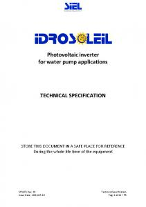 Photovoltaic inverter for water pump applications