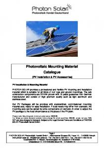 Photovoltaic Mounting Material Catalogue