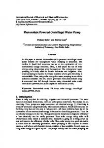 Photovoltaic Powered Centrifugal Water Pump