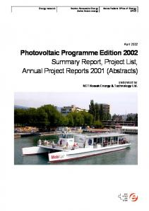 Photovoltaic Programme Edition 2002 Summary Report, Project List, Annual Project Reports 2001 (Abstracts)
