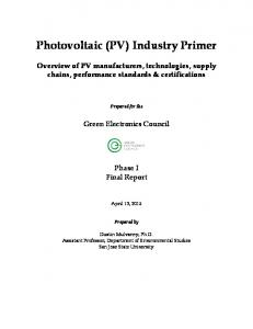 Photovoltaic (PV) Industry Primer