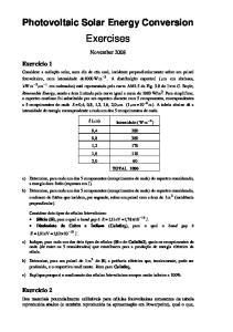 Photovoltaic Solar Energy Conversion. Exercises. November 2008