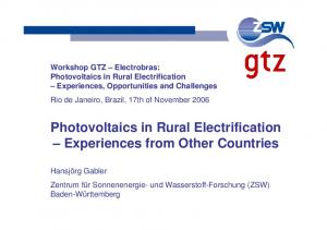 Photovoltaics in Rural Electrification Experiences from Other Countries