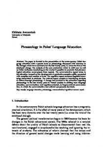 Phraseology in Poles Language Education