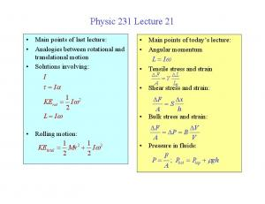 Physic 231 Lecture 21