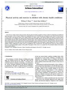 Physical activity and exercise in children with chronic health conditions