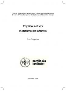 Physical activity in rheumatoid arthritis