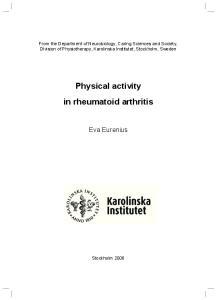 Physical activity in rheumatoid arthritis