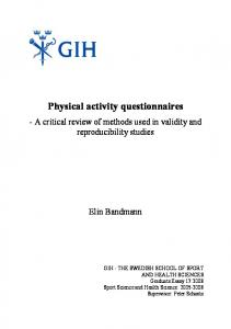 Physical activity questionnaires