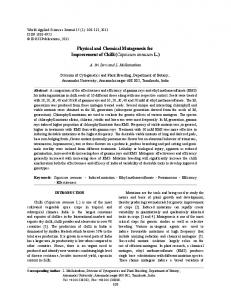 Physical and Chemical Mutagenesis for Improvement of Chilli (Capsicum annuum L.)