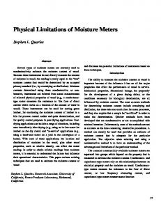Physical Limitations of Moisture Meters
